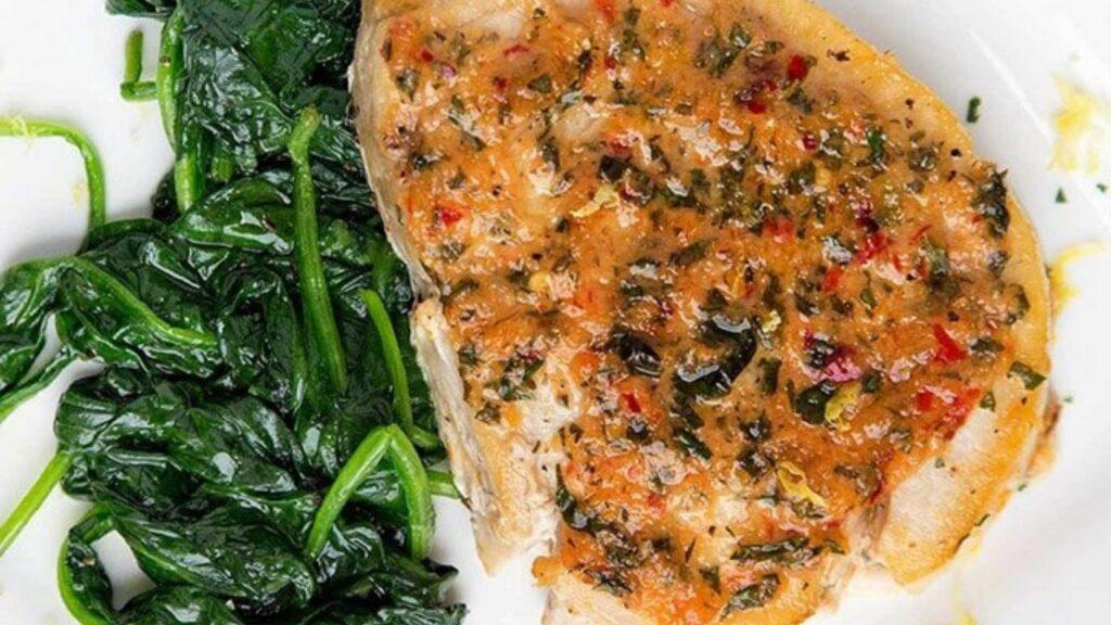 Ginger garlic pan roasted swordfish
