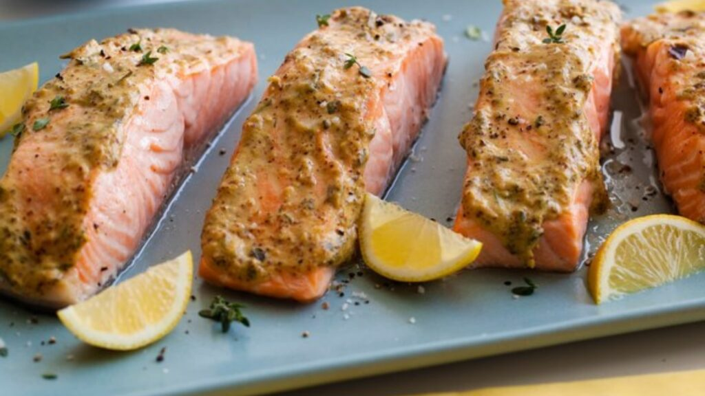 Broiled spring salmon with herb mustard glaze