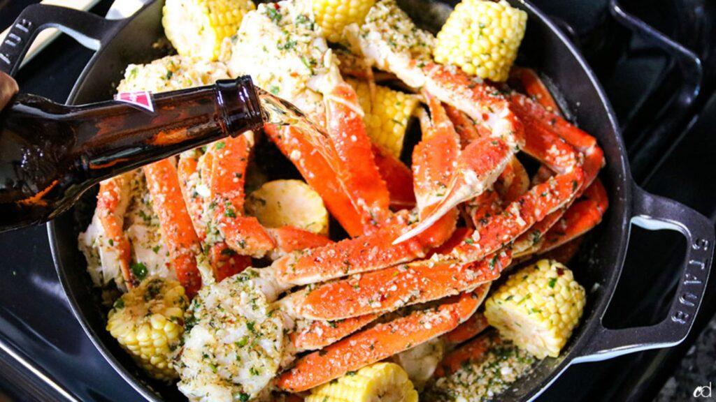 Boozey garlic butter tanner crab legs