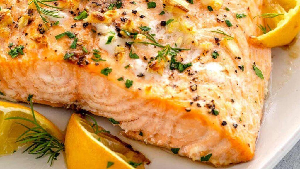 Pan-seared salmon with lemon garlic cream sauce