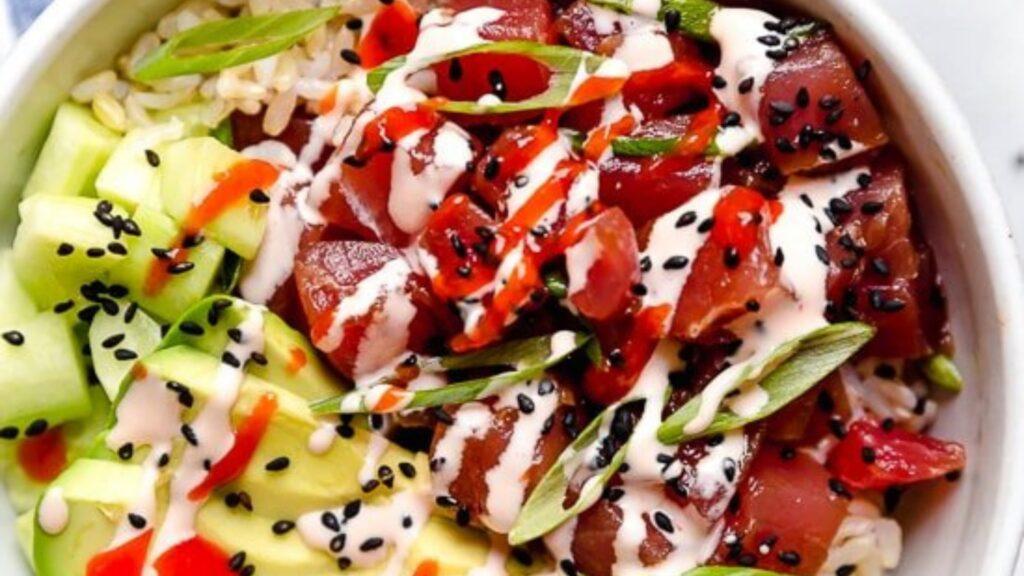Spicy Albacore tuna poke bowl