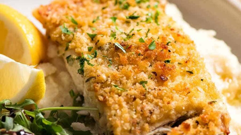 Baked halibut with parmesan crumb topping