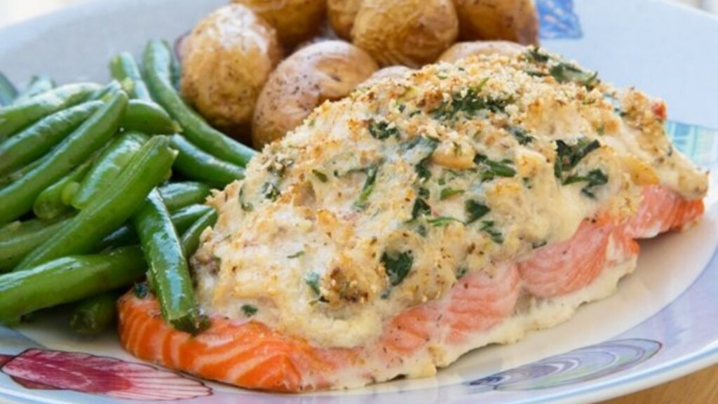Salmon topped with crab