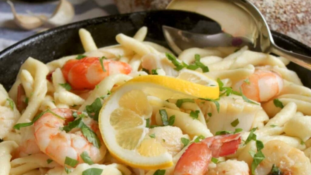 Seafood pasta with lemon dill sauce